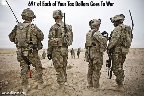 69 cents of every tax dollar to war